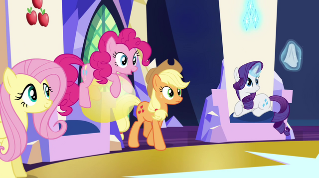 File:Fluttershy, Pinkie, AJ and Rarity look up in curiosity EG2.png