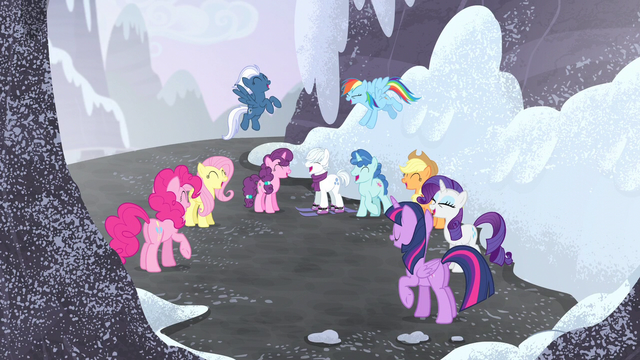 File:Mane Six and village ponies group laugh S5E2.png
