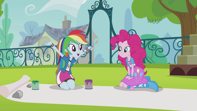 File:Rainbow and Pinkie making a banner EG2.png