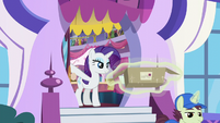 Rarity looks at mailpony walking down stairs S5E15
