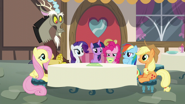 File:Mane Six and Discord at a new table S5E22.png