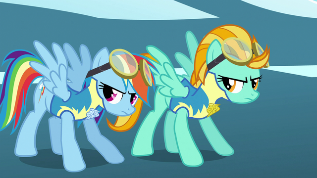 File:Rainbow Dash and Lightning Dust getting ready to take off S3E7.png