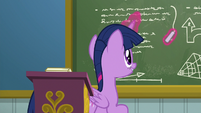 Twilight Sparkle drawing on the chalkboard S6E24