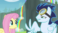 Fluttershy sees Soarin with broken wing S4E10