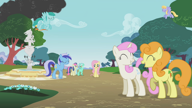 File:Ponies ignoring Fluttershy S1E7.png