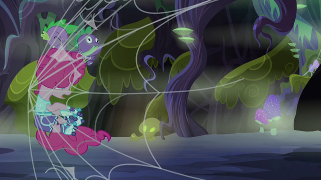 File:Spike and Pinkie run into a spider web S5E21.png