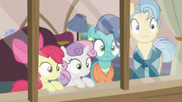 Apple Bloom, Sweetie Belle, and Petunia's parents hear Scootaloo S6E19