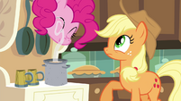 Pinkie Pie sniffing the cider S4E18