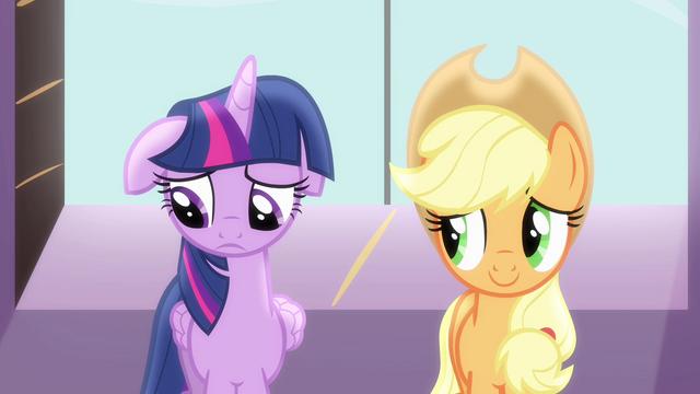 File:Sad Twilight beside Applejack S4E01.png