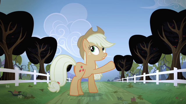File:Applejack pointing to the trees S04E07.png