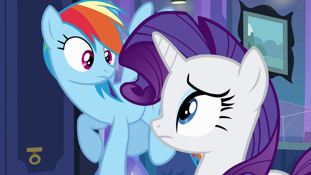 File:Rainbow Dash and Rarity look at each other EG.png