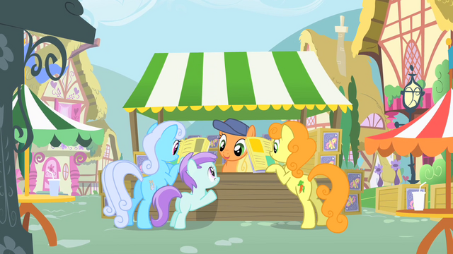 File:Shoeshine, Golden Harvest and a filly reading magazines S01E20.png