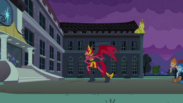 File:Demon Sunset Shimmer in front of the school EG.png