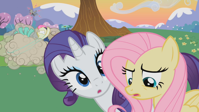 File:Sweetie Drops and Lyra Heartstrings fighting each other along with other ponies S2E03.png