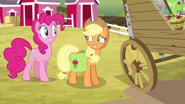 File:Applejack grinning nervously at Pinkie S4E09.png