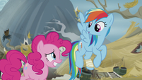 Rainbow asks Pinkie who she's talking to S5E8