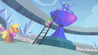 Spike climbing the torch ladder S4E24
