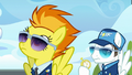 Spitfire watches Sky; Fast Clip holds stopwatch S6E24.png