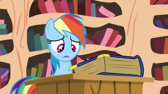 File:Rainbow looking at the book S4E21.png