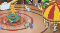 Applejack and Fluttershy return to the resort lobby S6E20