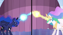 Celestia and Luna shoot their magic beams S6E2