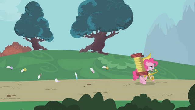 File:Pinkie Pie leading parasprites out of Ponyville S1E10.png