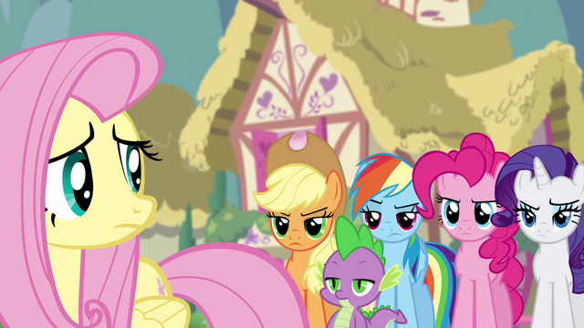 File:Twilight's friends skeptical of Discord's helpfulness S4E25.png