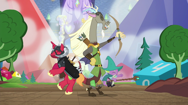 File:Discord, Big Mac and Spike LARPing S6E17.png