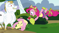 Pinkie Pie shouting at Fluttershy using a megaphone S4E10
