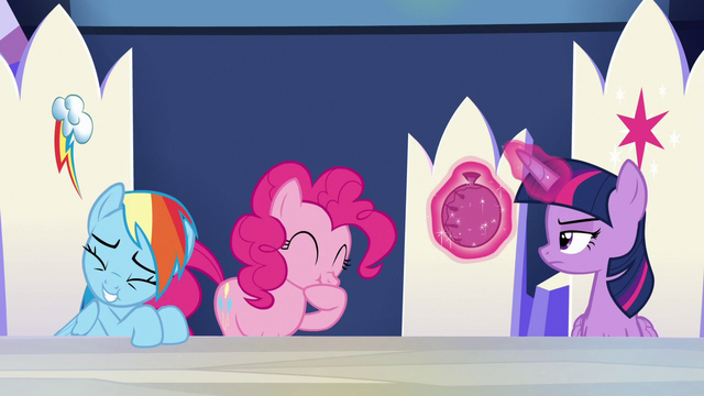 File:Rainbow and Pinkie Pie cracking up S6E15.png