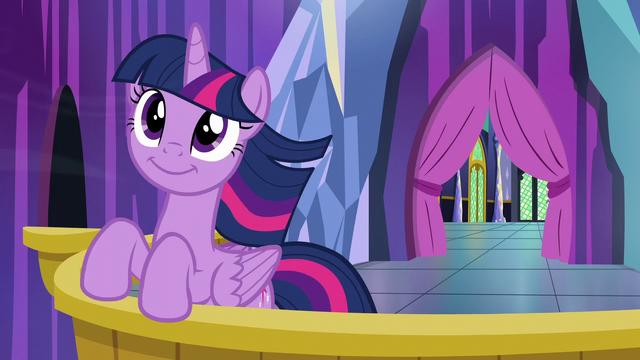 File:Twilight Sparkle on the castle balcony S6E1.png