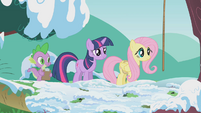 Spike, Twilight and Fluttershy waiting S01E11