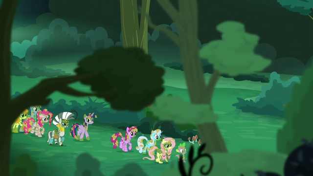 File:Twilight, Spike, Zecora, and other ponies walk together S5E26.png
