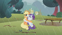 Applejack and Rarity clinging to each other S1E08