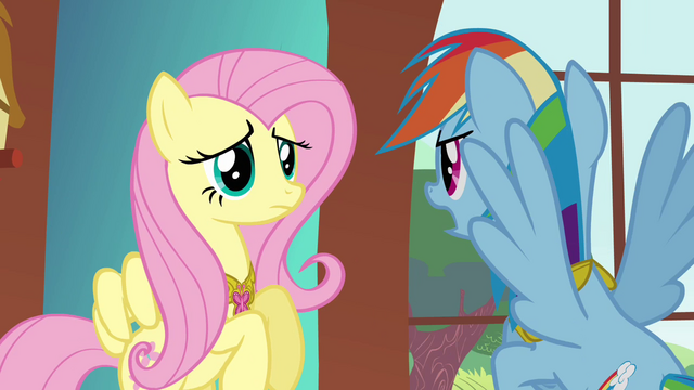 "File:Fluttershy and Rainbow ""trying to drive a wedge between us"" S03E10.png"