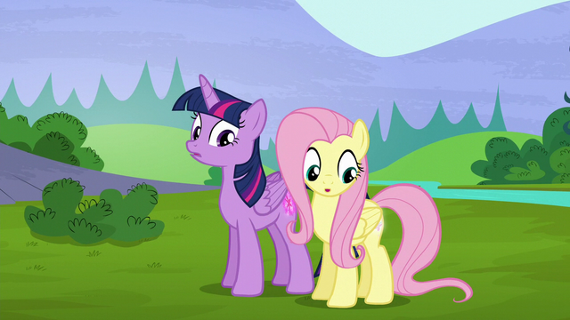File:Twilight and Fluttershy's cutie marks glow again S5E23.png
