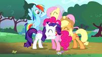 Main cast group hug around Pinkie S4E12