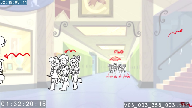 File:EG3 animatic - Main six and Crusaders in the hallway.png
