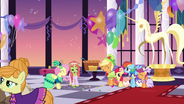 File:Fluttershy, Tree Hugger, and friends mingling S5E7.png
