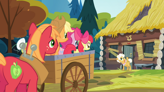File:The Apples and Pinkie listening to Goldie talking S4E09.png