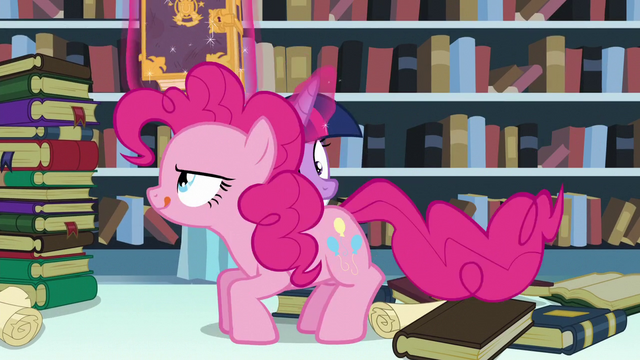 File:Pinkie on the table about to leap towards Flurry Heart S6E2.png