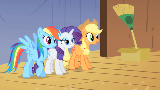 File:Applejack Rainbow and Rarity looking from backstage S1E18.png