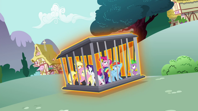 File:Main cast's cage being levitated S4E26.png