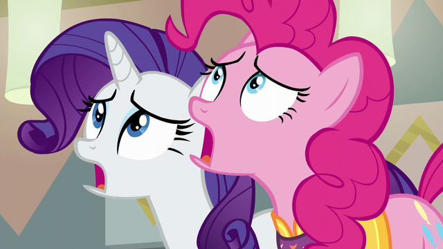 File:Pinkie Pie and Rarity watch in horror S6E12.png