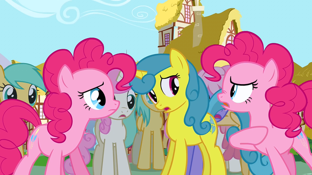 File:Pinkie Pie talking to another Pinkie Pie in front of the crowd S3E3.png