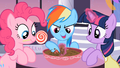 Rainbow Dash playing with the chocolate bowl S2E9.png