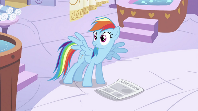 File:Rainbow Dash with newspaper on floor S2E23.png
