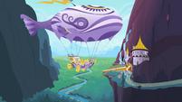 Rarity sends off a flying ship S2E09