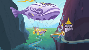 Rarity sends off a flying ship S2E09