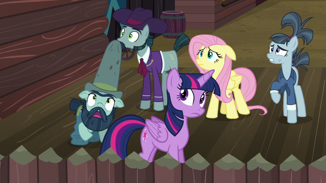 File:Twilight, Fluttershy, and McColts see tomatoes rain down S5E23.png